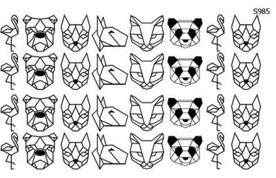 Слайдер дизайн геометрия животные панда, фламинго S985
