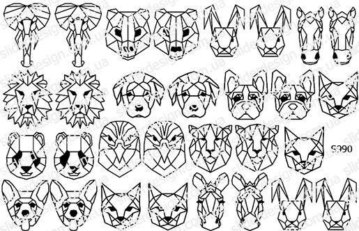 Слайдер дизайн геометрические животные S990